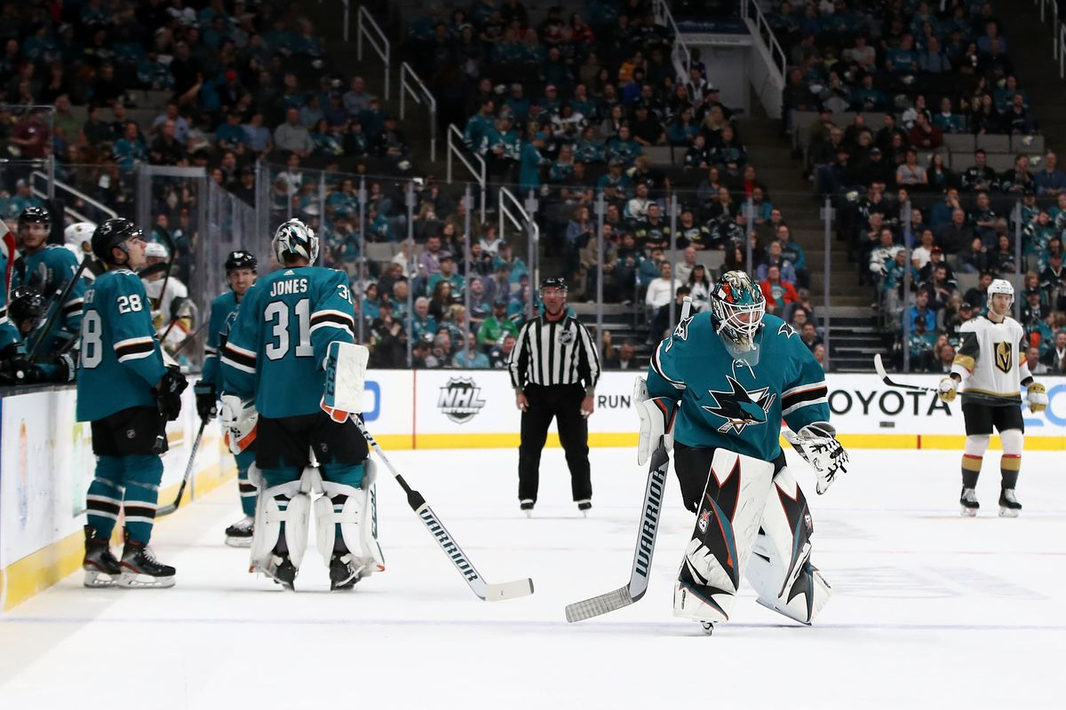 Aaron Dell #30 of the San Jose Sharks replaces Martin Jones #31 after Jones gave up three goals in the first period against the Vegas Golden Knights at SAP Center on March 18, 2019 in San Jose, California.
