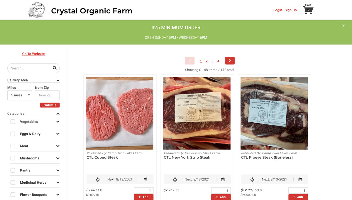 A web store showing pictures of different cuts of meat. A series of filters lets you view vegetables, eggs & dairy, meat, mushrooms, and more.