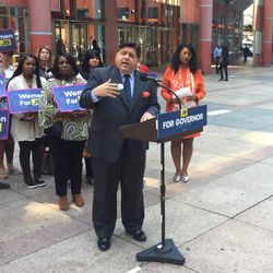 Democrat J.B. Pritzker holds a news conference Wednesday on the Equal Rights Amendment outside the James Thompson Center. Photo by Mark Brown.