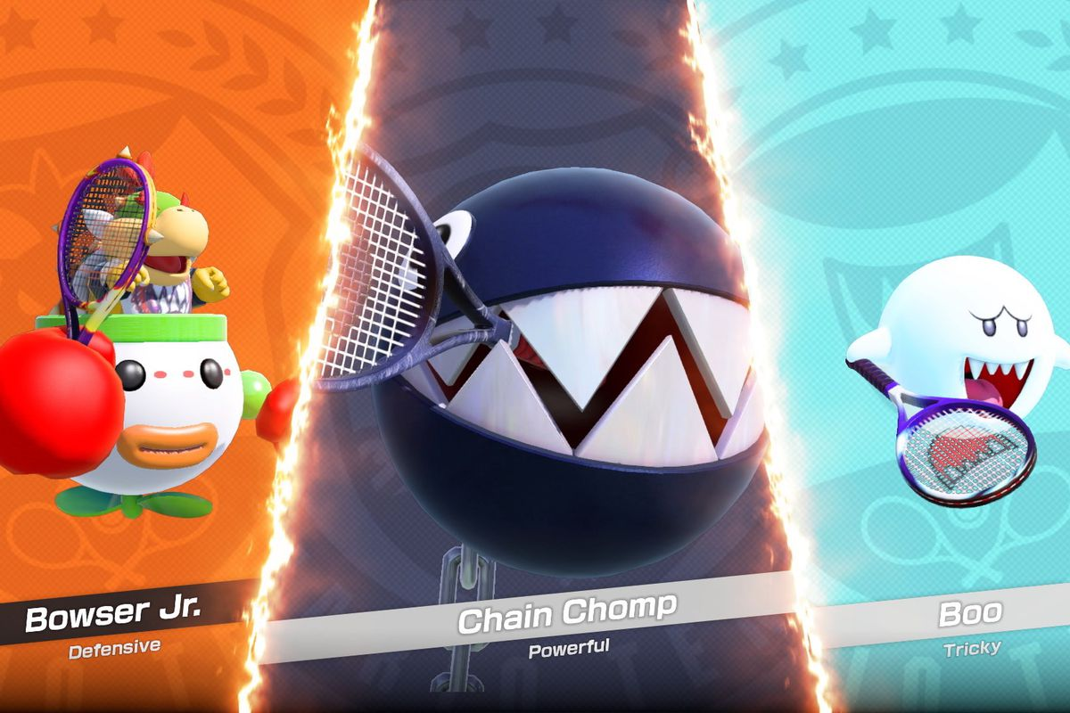 A screenshot of Bowser Jr., Chain Chomp and Boo from Mario Tennis Aces.