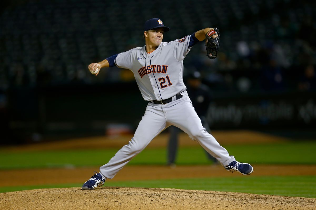 Zack Greinke #21 of the Houston Astros pitches during the game against the Oakland Athletics at RingCentral Coliseum on May 19, 2021 in Oakland, California. The Astros defeated the Athletics 8-1.