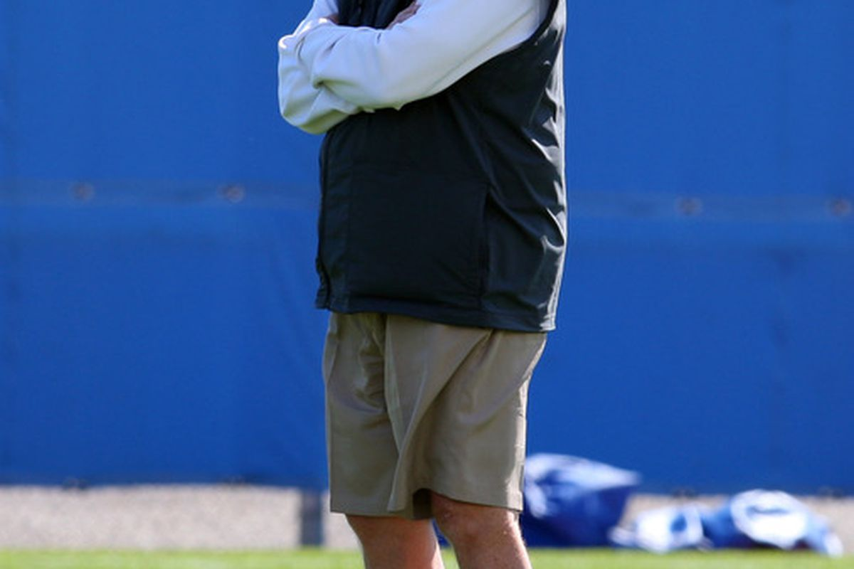 May 11, 2012; Orchard Park, NY, USA;  Buffalo Bills head coach Chan Gailey watches players during rookie mini camp at Ralph Wilson Stadium.  Mandatory Credit: Timothy T. Ludwig-US PRESSWIRE
