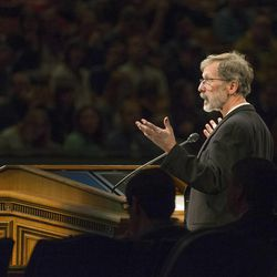 Ed Catmull, co-founder of Pixar Animation Studios, speaks to students at a Brigham Young University forum on what has led to Pixar's creative success on Jan. 27.