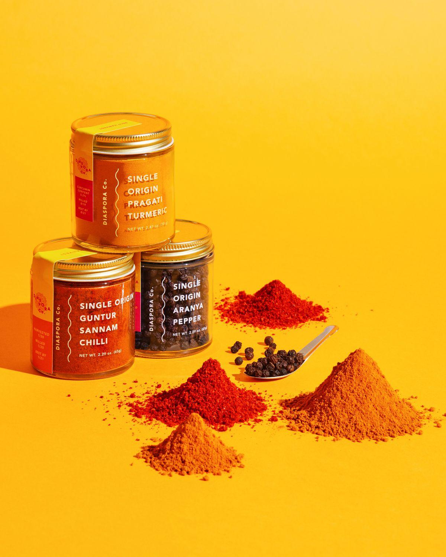 Diaspora Co.'s turmeric, dried chiles, and pepper