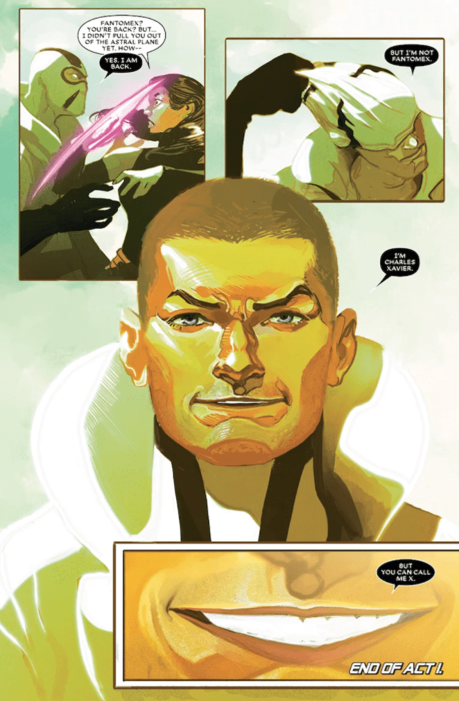 Professor Xavier in his first appearance while embodied in Phantomex, in Astonishing X-Men #6, Marvel Comics (2017).