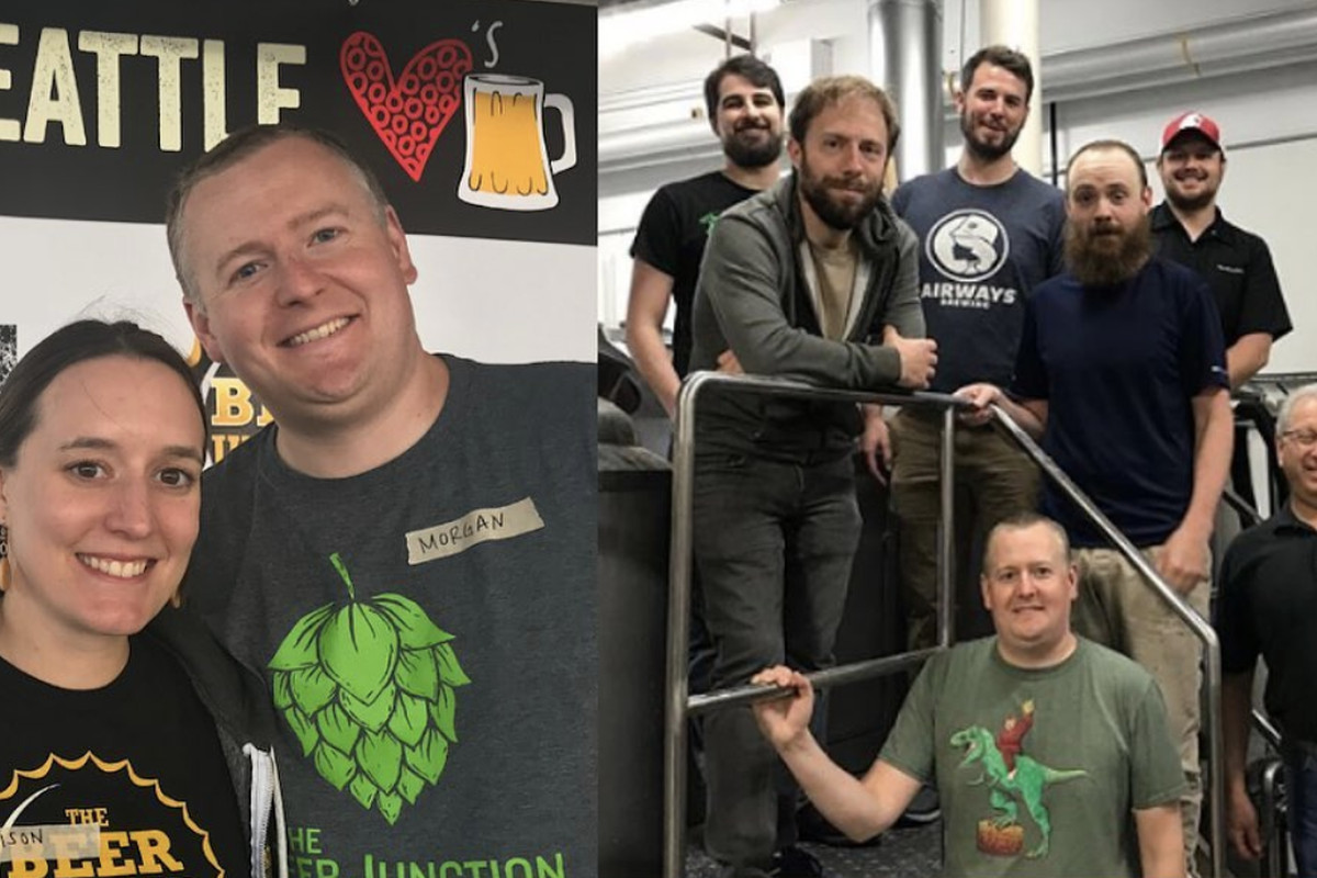 Morgan Herzog on left with his wife, Allison, and on below right, with The Beer Junction team.