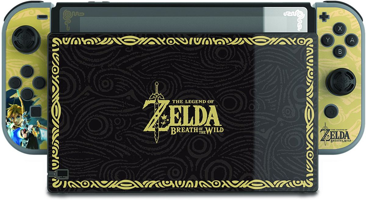 A product shot of a Breath of the Wild skin for Nintendo Switch