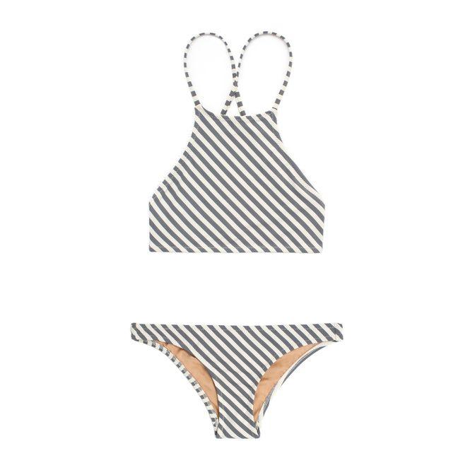 A striped bikini set