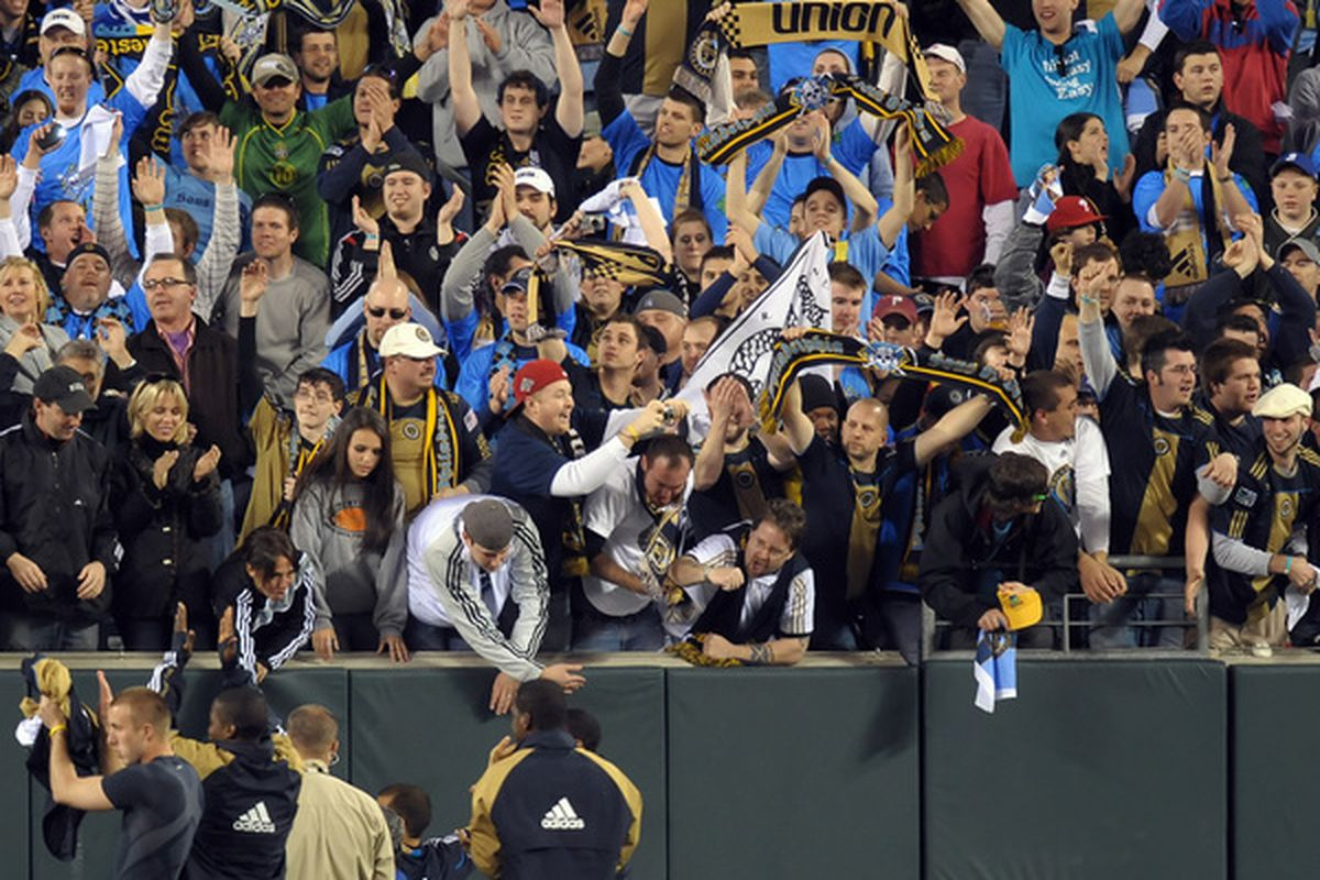 PHILADELPHIA - NOVEMBER 10: Fans cheer for the Philadelphia Union after they defeated D.C. United 3-2 on April 10, 2010 at Lincoln Financial Field in Philadelphia, Pennsylvania. (Photo by Drew Hallowell/Getty Images)