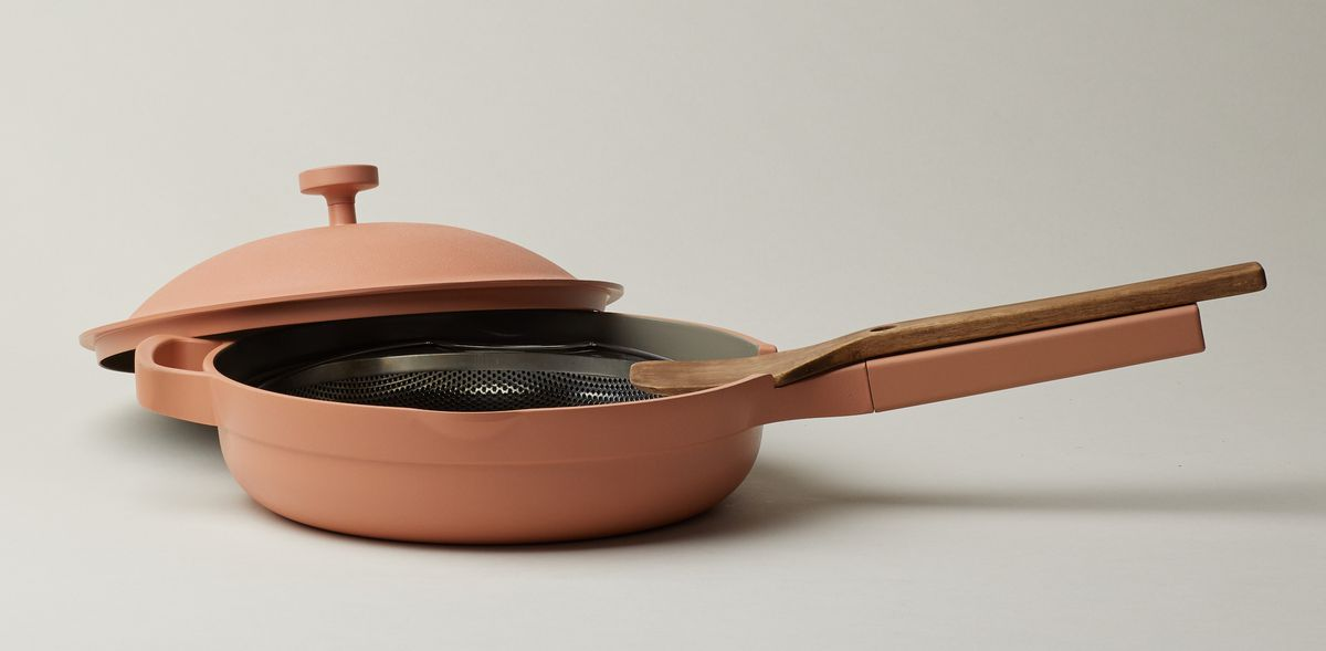A skillet in a terracota color