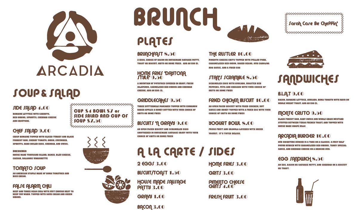 Arcadia menu 2