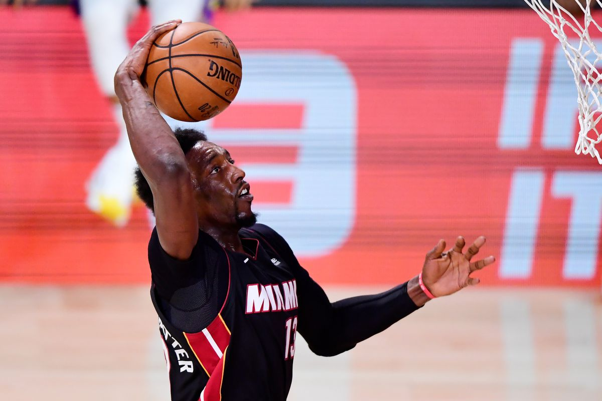 Bam Adebayo of the Miami Heat dunks the ball during the third quarter against the Los Angeles Lakers in Game Six of the 2020 NBA Finals at AdventHealth Arena at the ESPN Wide World Of Sports Complex on October 11, 2020 in Lake Buena Vista, Florida.
