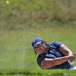 Naomi Soifua blasts out of a sand trap as she plays Kerstin Fotu during the Utah Women's State Amateur at the Soldier Hollow Golf Course in Midway on Wednesday, July 15, 2020.