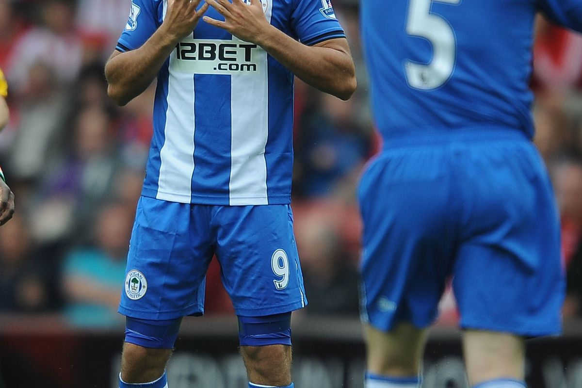 Franco Di Santo of Wigan celebrates scoring their first goal during the Barclays Premier League match between Southampton and Wigan Athletic at St Mary's Stadium.