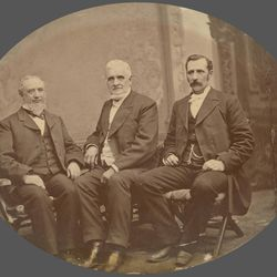 The First Presidency of The Church of Jesus Christ of Latter-day Saints, circa 1880: left to right, first counselor George Q. Cannon, President John Taylor, second counselor Joseph F. Smith.