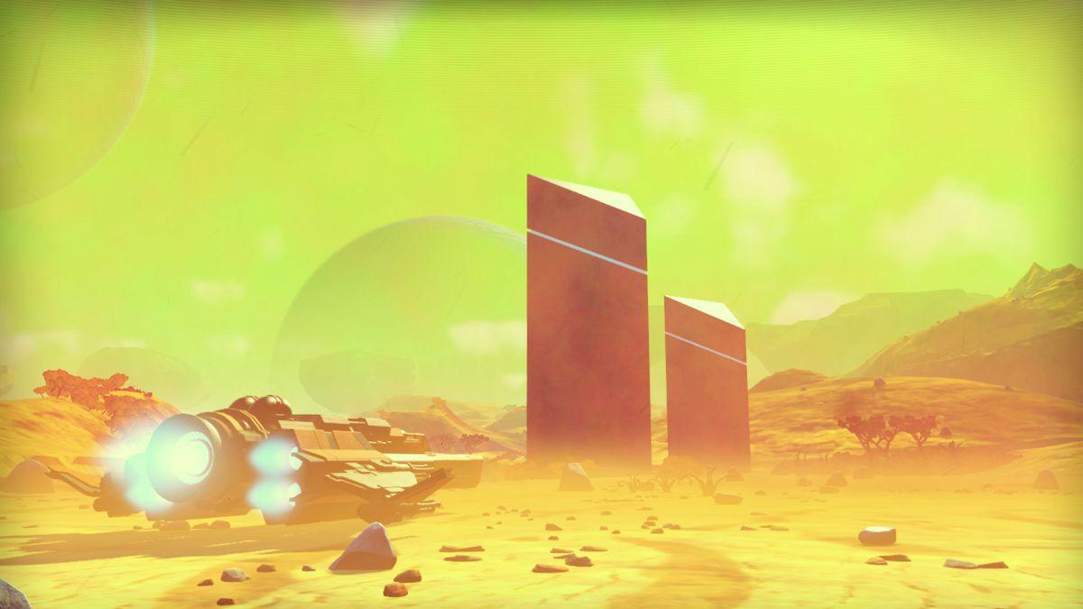 No Man's Sky - a plane near two monoliths