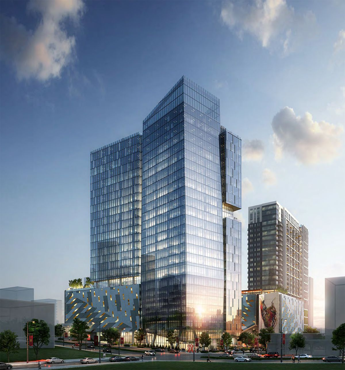 A wide-angle rendering of the sleek, glassy multi-tower project.