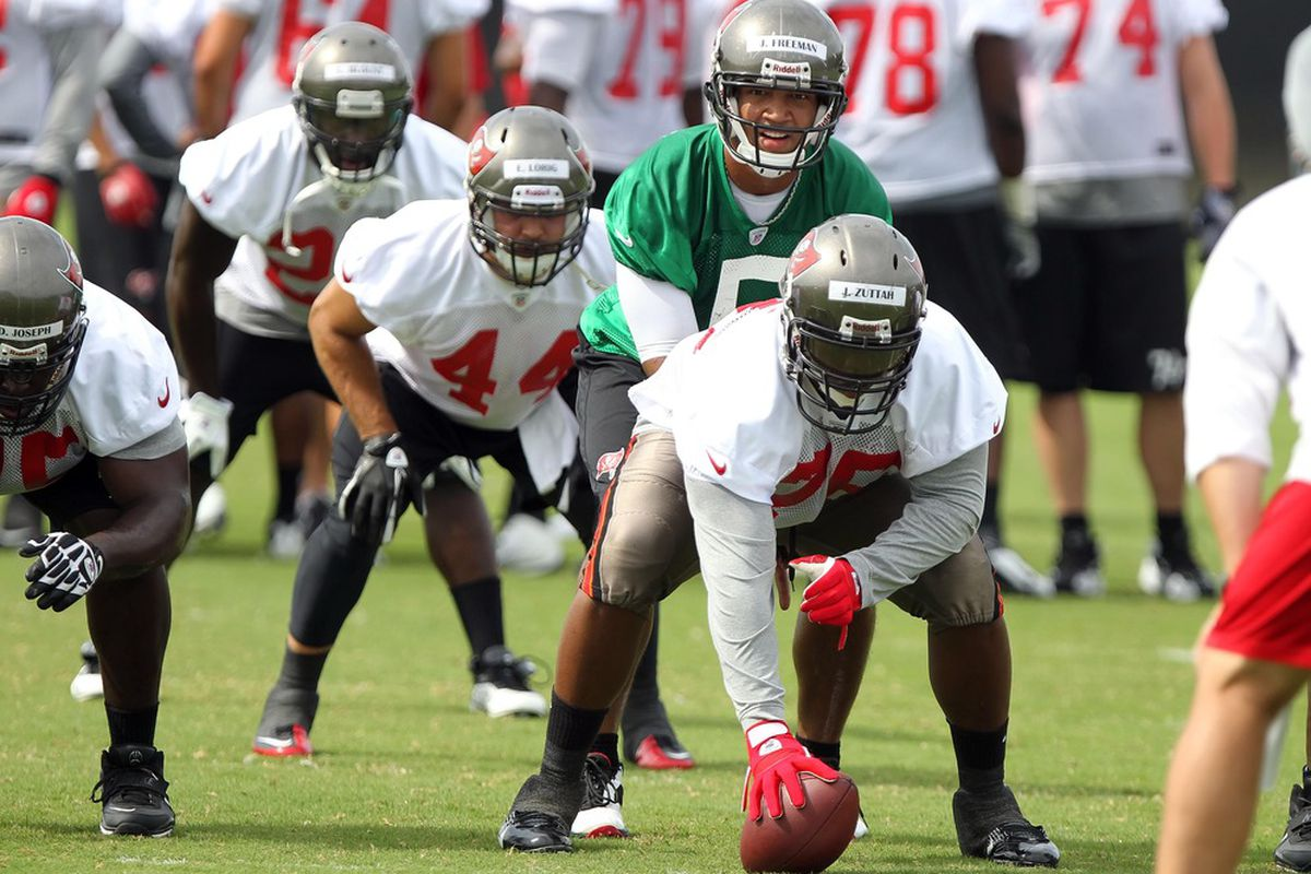 May 15, 2012; Tampa, FL, USA;  Tampa Bay Buccaneers quarterback Josh Freeman (5) calls a play as center guard Jeremy Zuttah (76) hikes the ball during organized team activities at One Buc.   Mandatory Credit: Kim Klement-US PRESSWIRE