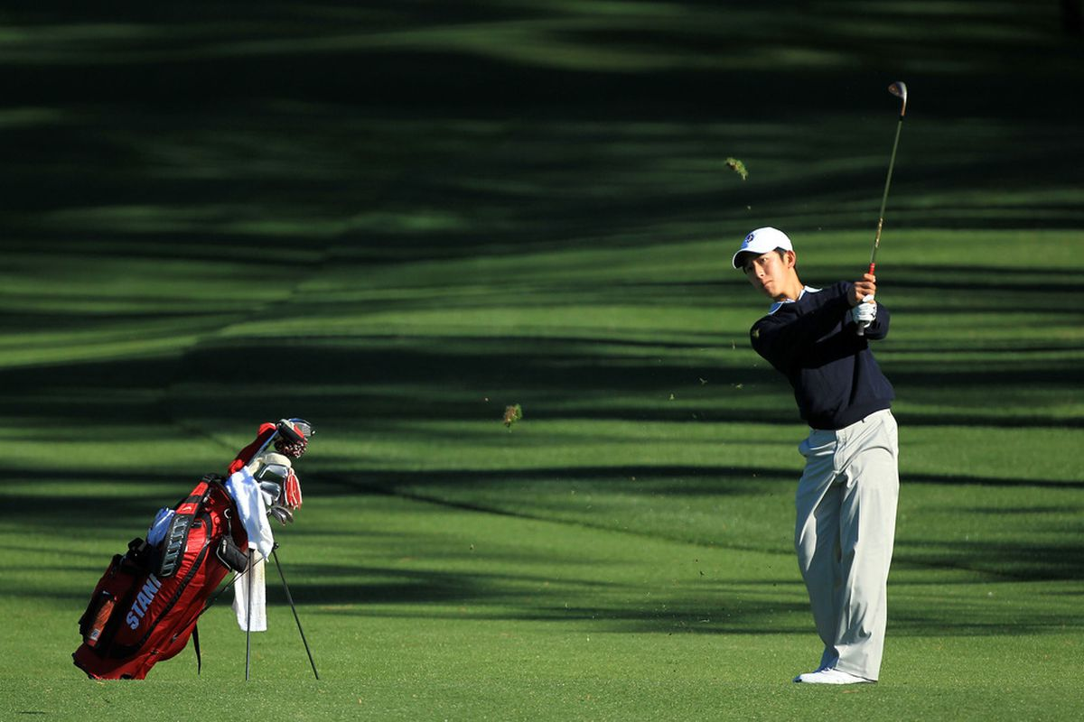 Stanford junior David Chung hits a shot during a practice round earlier this week.