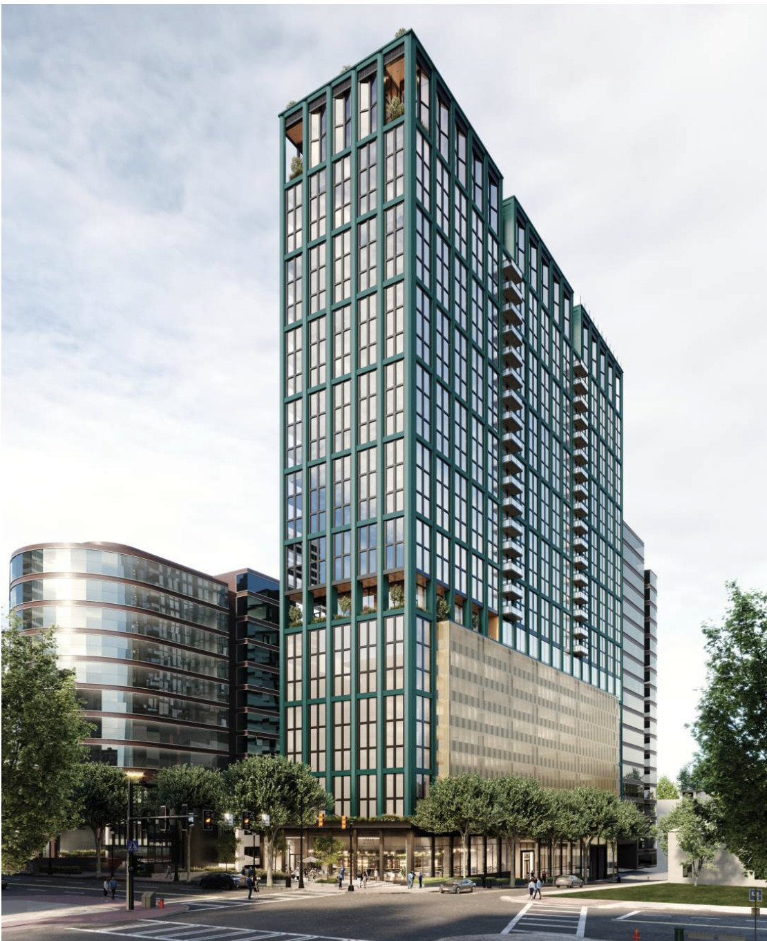 A wide-angle rendering of the 34-story tower project.