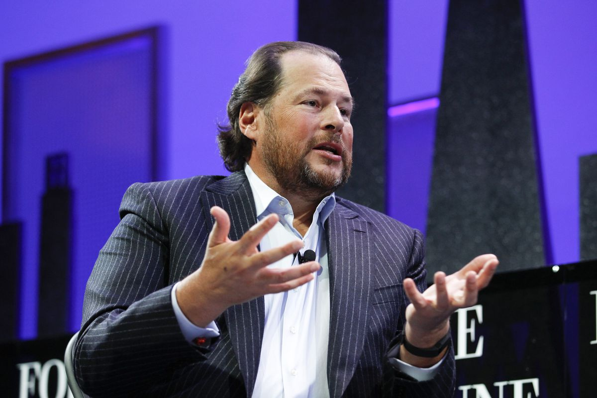 Salesforce CEO Marc Benioff speaking in San Francisco at the Fortune Global Forum in 2015