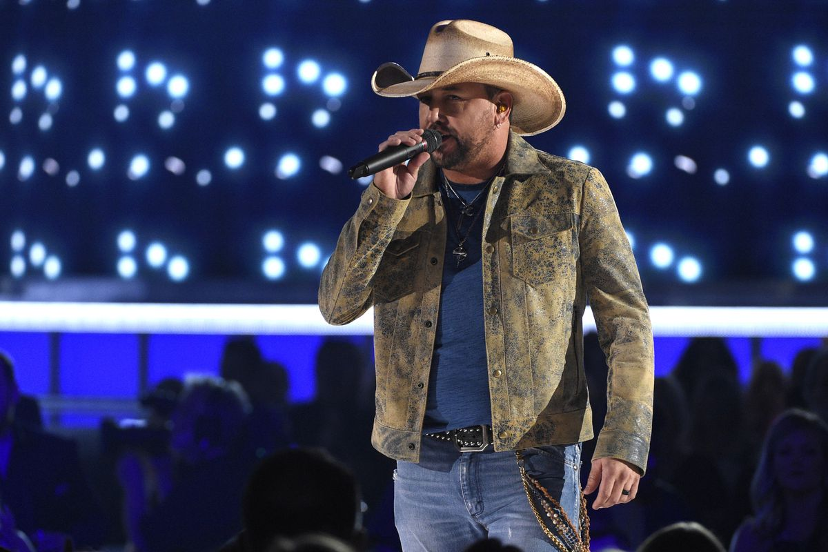 """This April 7, 2019 file photo shows Jason Aldean performing """"Can't Hide Red"""" at the 54th annual Academy of Country Music Awards in Las Vegas. Aldean released his ninth studio album with Broken Bow, the appropriately titled """"9."""""""