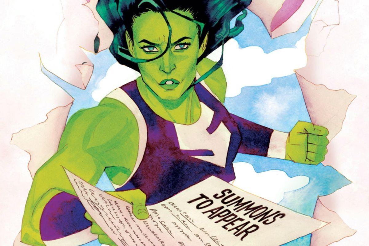 She-Hulk burst through a wall brandishing a legal summons on the cover of She-Hulk #6, Marvel Comics (2014).