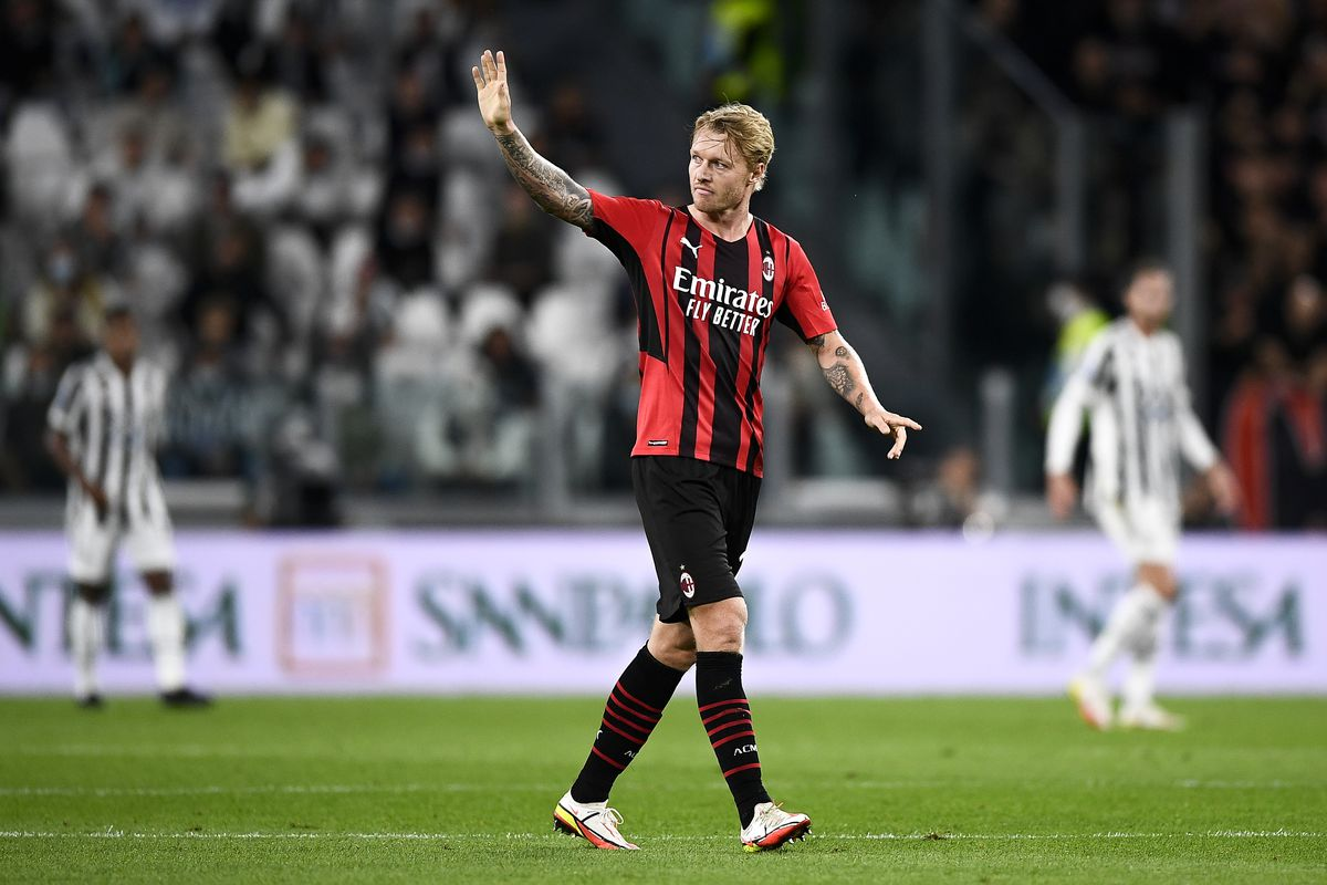 Simon Kjaer of AC Milan gestures during the Serie A football...