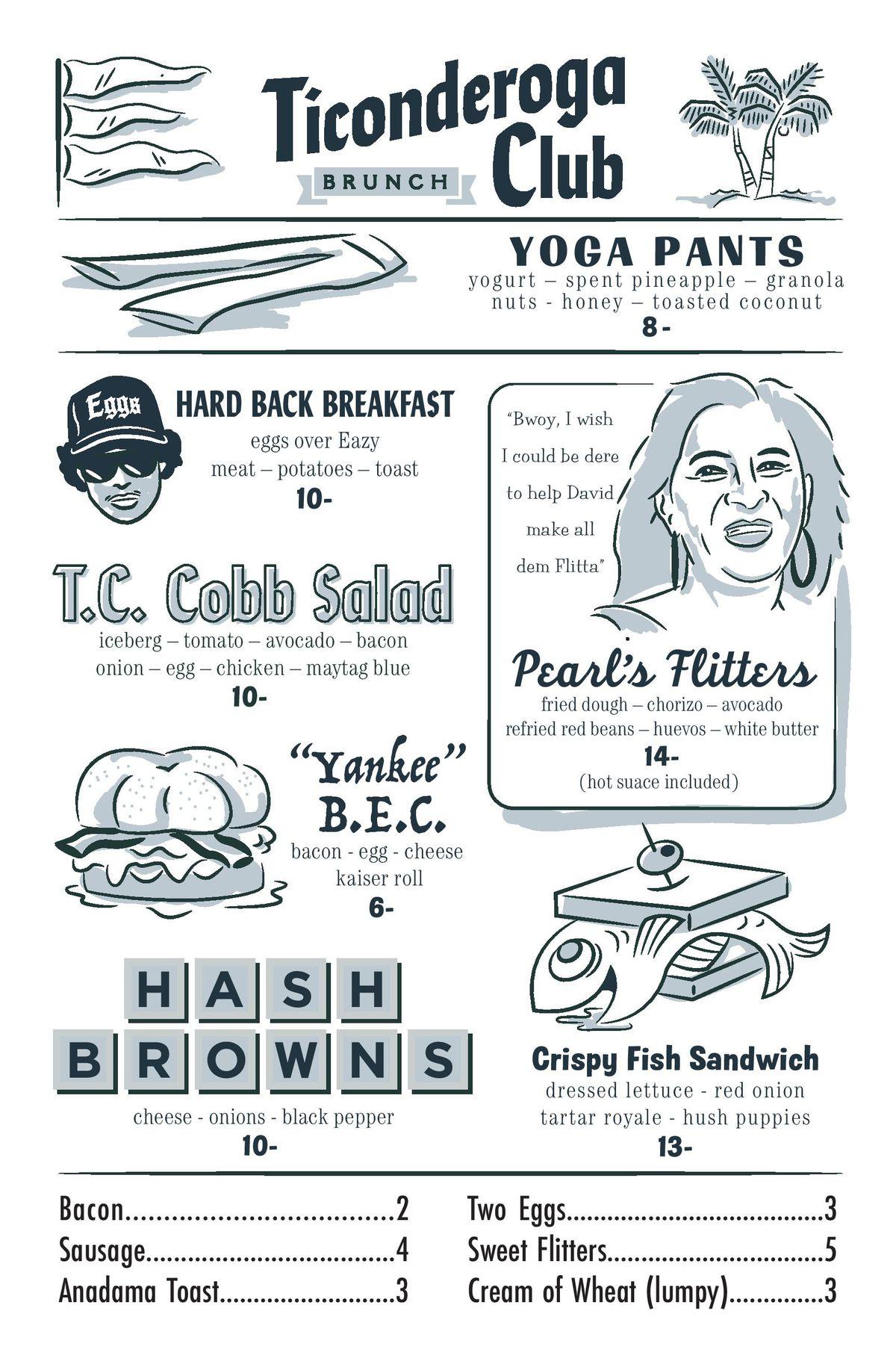 Ticonderoga Club brunch menu