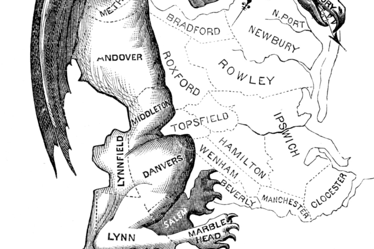 """This 1812 political cartoon mocked the """"monstrous"""" shape of a Massachusetts district drawn to help the Democratic-Republicans."""