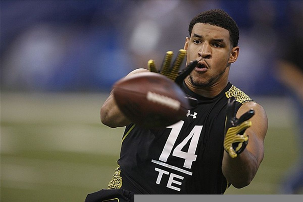 Temple Owls tight end Evan Rodriguez catches a pass during the NFL Combine at Lucas Oil Stadium. Brian Spurlock-US PRESSWIRE