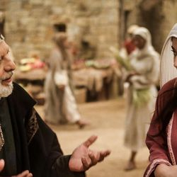 "Nicodemus (Erick Avari) and Mary Magdalene (Elizabeth Tabish) in a scene from Episode 2 of ""The Chosen."""