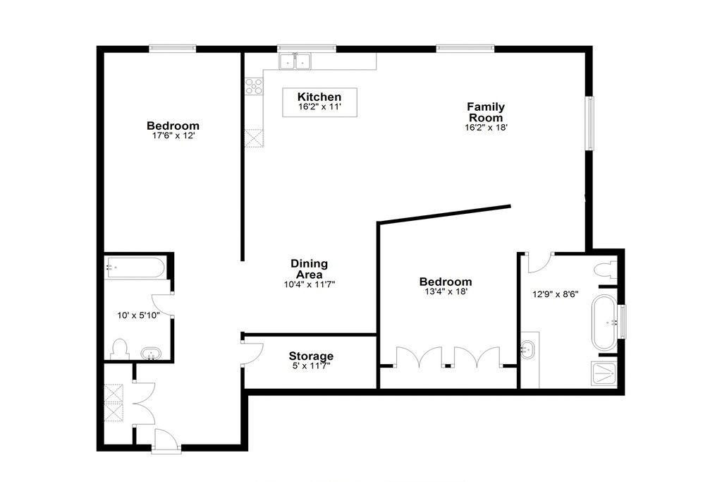 A floorplan for a two-bedroom loft in Atlanta.