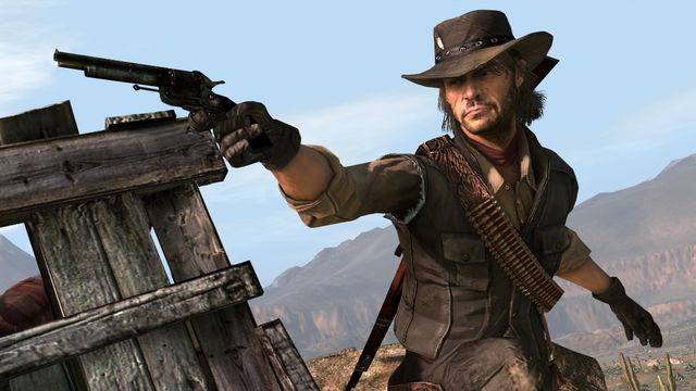 A cowboy holding a gun in a screenshot from Red Dead Redemption