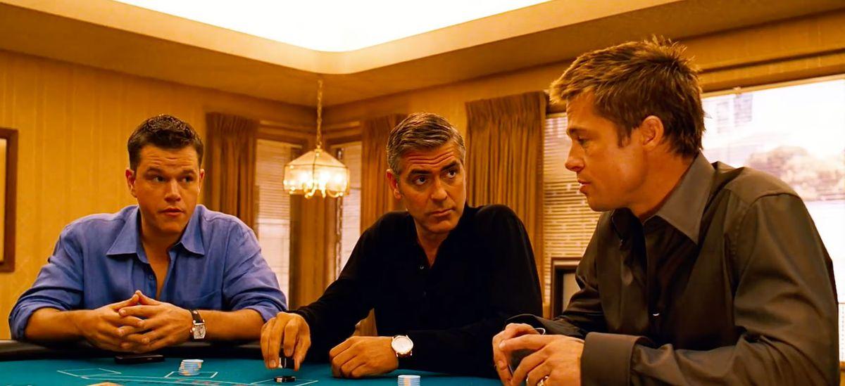 Matt Damon, George Clooney, and Brad Pitt in Ocean's Twelve