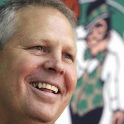 Boston Celtics President of Basketball Operations Danny Ainge talks with reporters during a news conference at the Celtics basketball training facility in Waltham, Mass., Friday, May 13, 2011.
