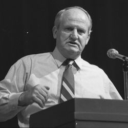 BYU head football coach LaVell Edwards speaks at Cottonwood High School in January 1990.