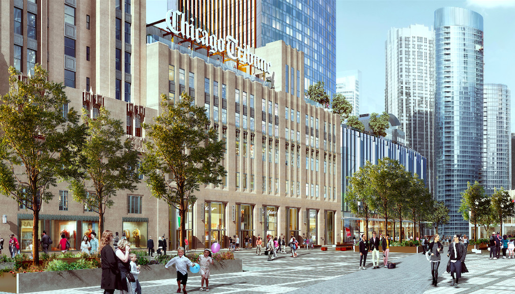 An artist's rendering of the street-level view of the proposed skyscraper near Tribune Tower. | Provided by CIM Group and Golub & Co.
