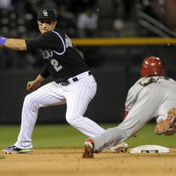 Colorado Rockies shortstop Troy Tulowitzki (2) eyes Arizona Diamondbacks' Ryan Roberts (14) before making the tag at second on an attempted steal during the eighth inning of a baseball game Friday, April 13, 2012, in Denver.