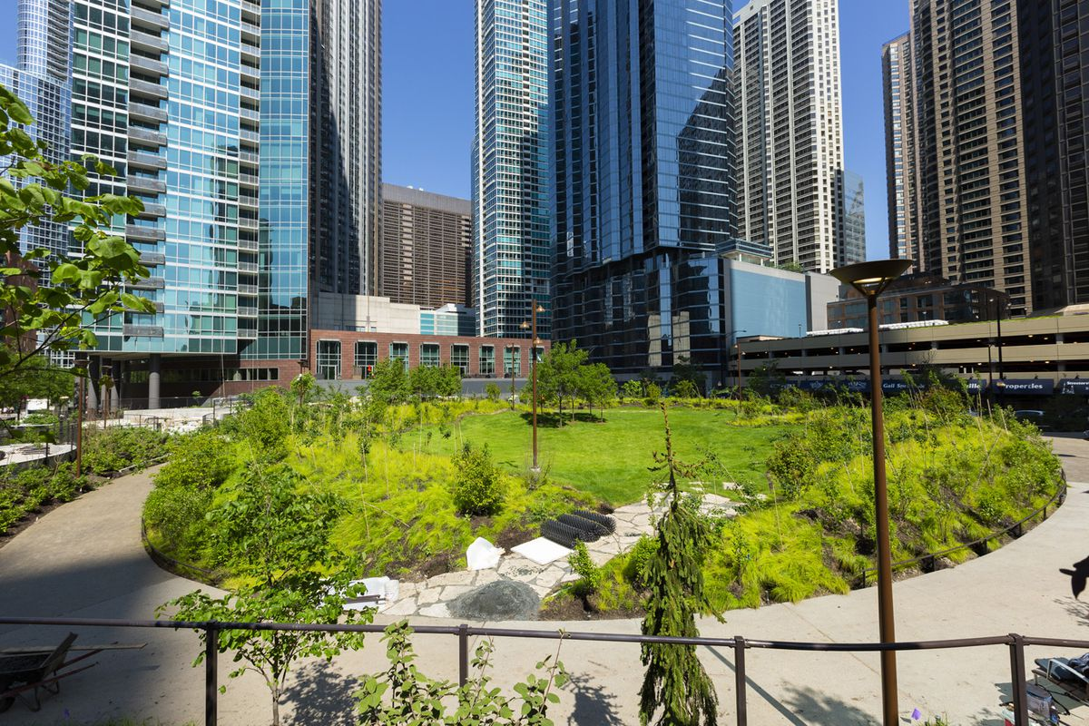 A park with winding paths, new trees and high-rises surrounding it.