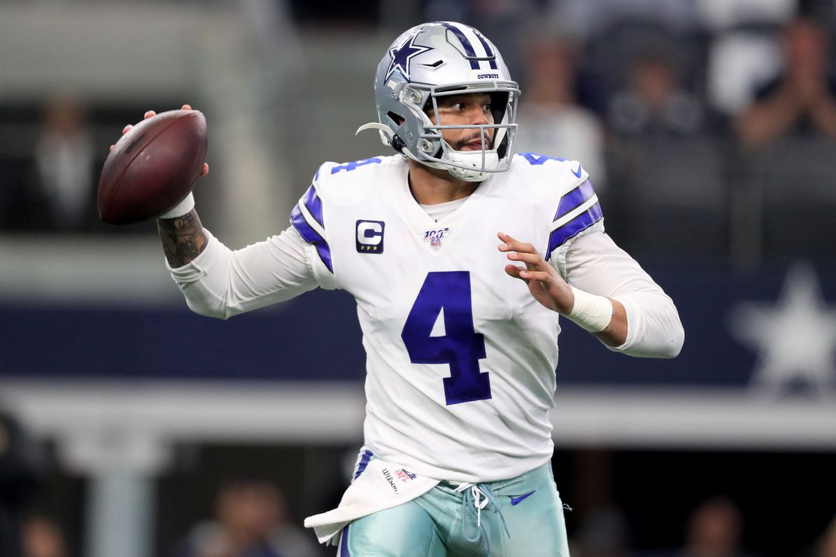 Dak Prescott #4 of the Dallas Cowboys throws a pass in the first quarter against the Washington Redskins in the game at AT&T Stadium on December 29, 2019 in Arlington, Texas.