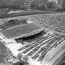 <strong>1950-Aerial views of Dedication football game at Doak Campbell Stadium</strong>