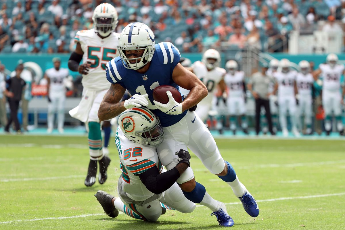 Michael Pittman Jr. #11 of the Indianapolis Colts runs the ball after a catch in the game against the Miami Dolphins during the second quarter at Hard Rock Stadium on October 03, 2021 in Miami Gardens, Florida.