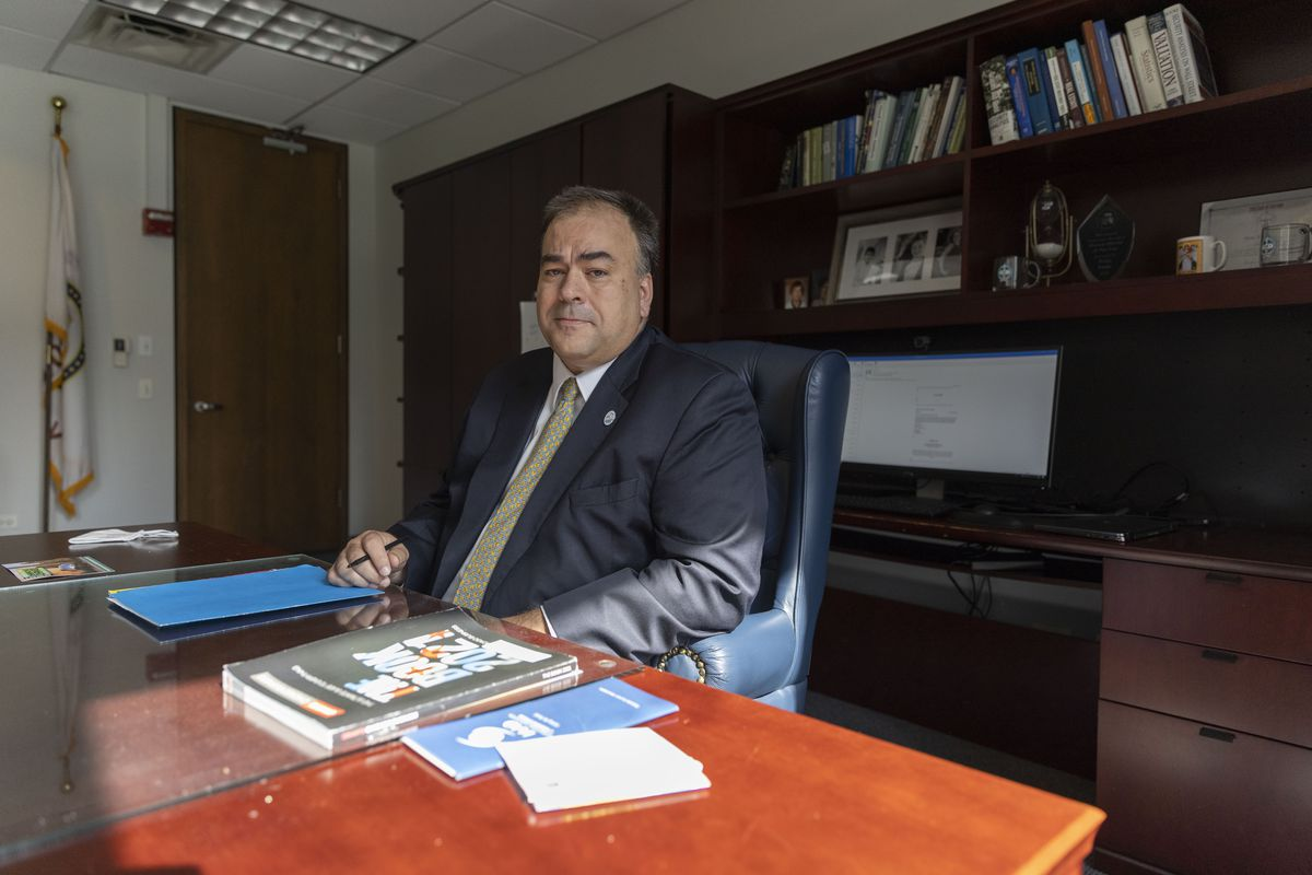 Cook County assessor Fritz in his office at the Cook County Building in July.