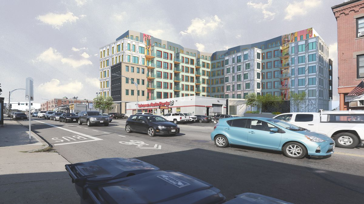 A wide view of the proposed Allston Square project.