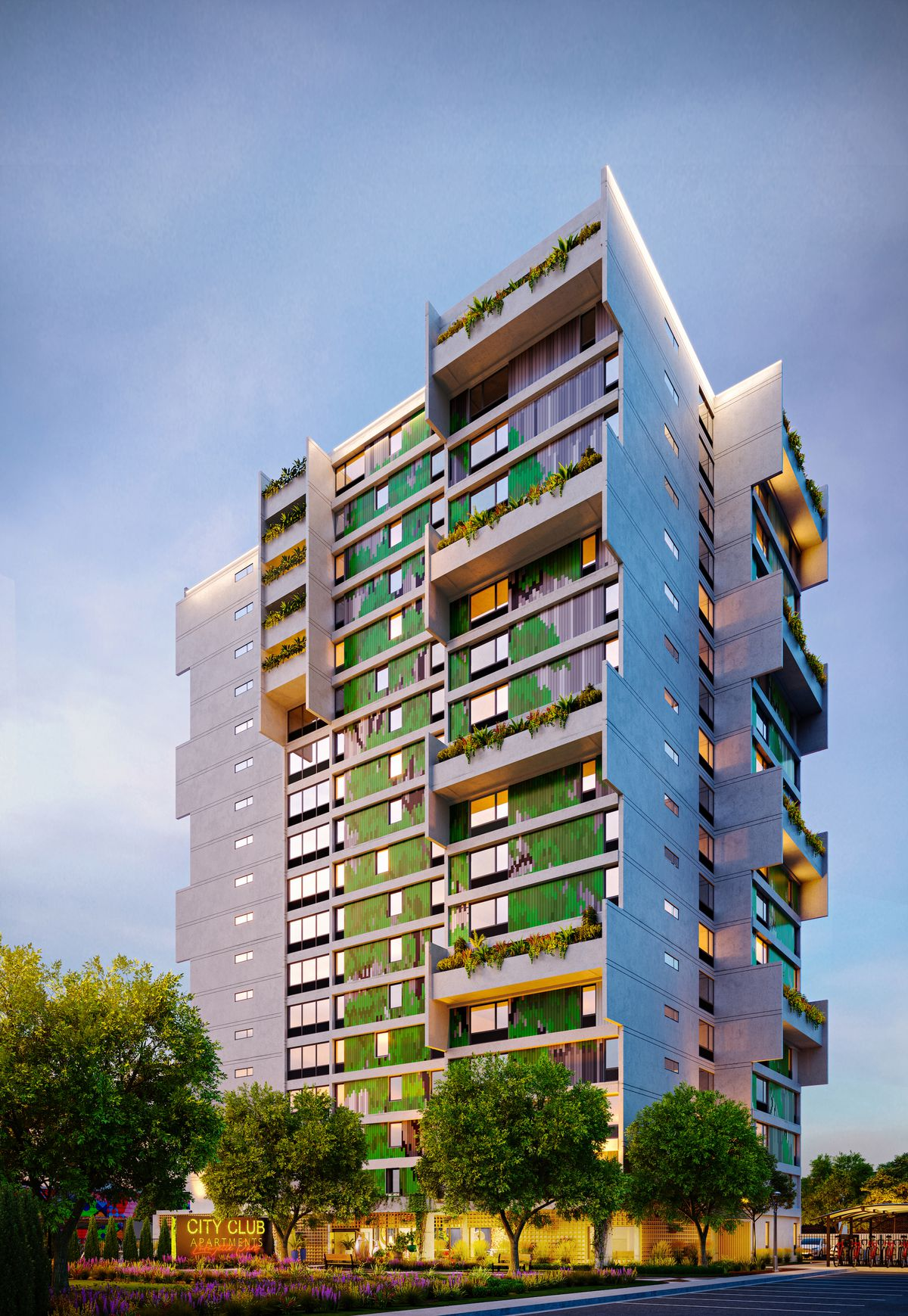 Rendering of a high-rise with varied facade containing green panels and some plants.