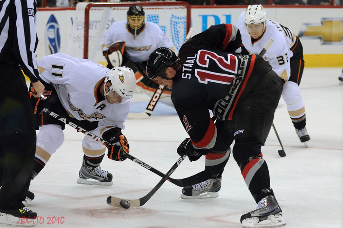 """Eric Staal and the Hurricanes won the faceoff battle against the Ducks, taking 48 of 83 draws in Saturday's win. Photo by <a href=""""http://www.flickr.com/photos/jbk-ltd/"""">LTD</a>"""