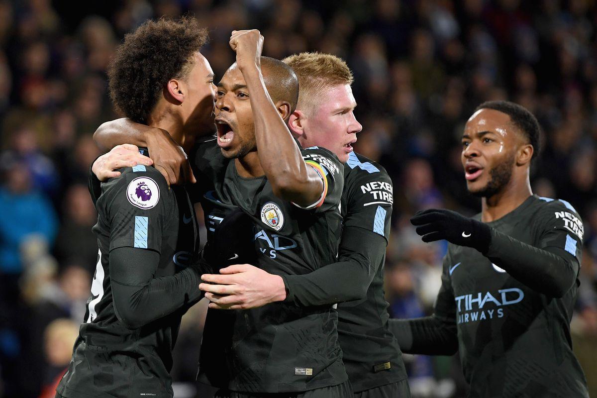 Leroy Sane celebrates with teammates - Manchester City - Premier League