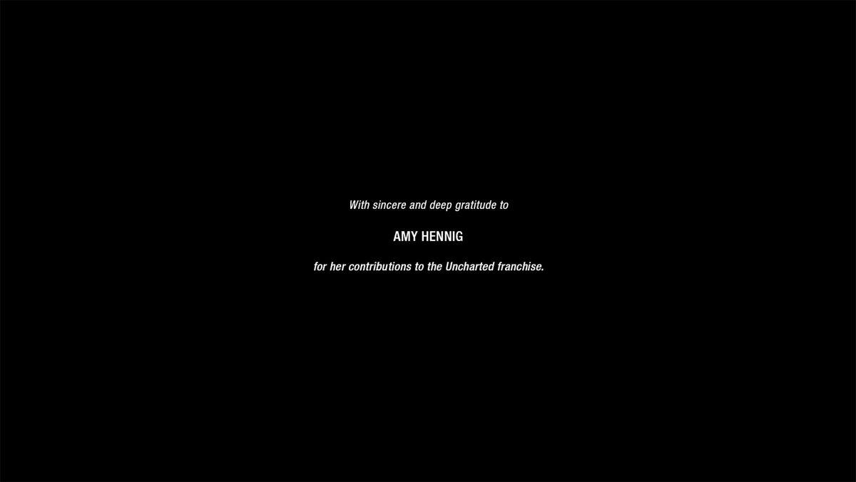 Amy Hennig thanks uncharted 4 credits