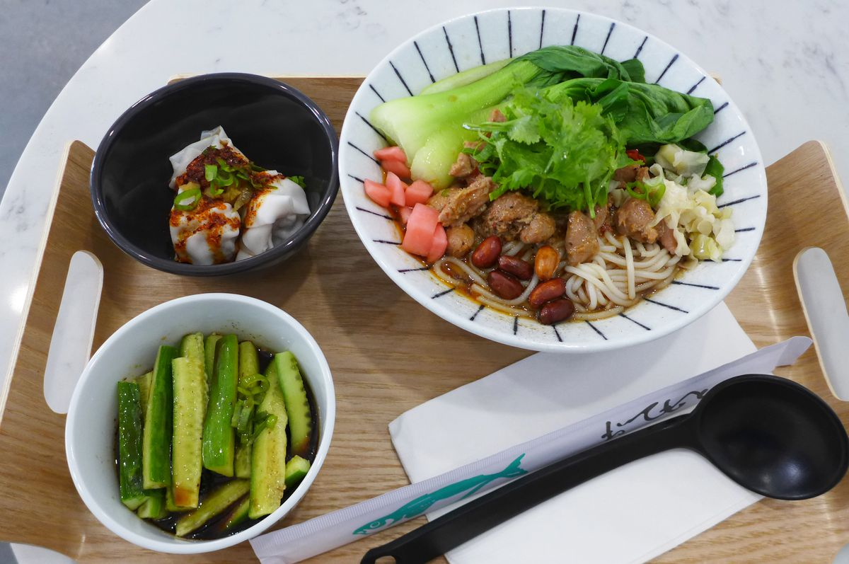 Spicy chicken mi fen with two sides